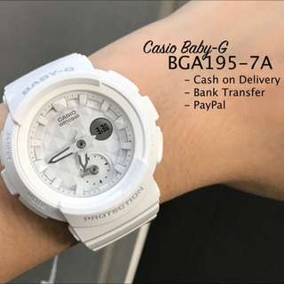 Casio Baby-G BGA195-7A Studs Style Dial Glossy White Resin