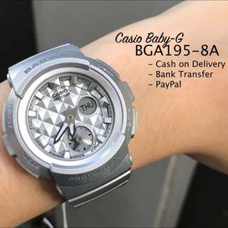 Casio Baby-G BGA195-8A Studs Style Dial Silver Resin