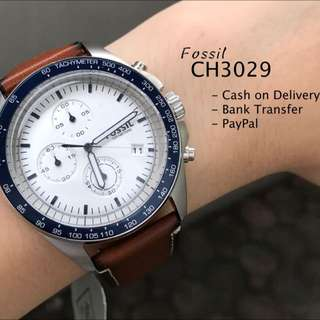Fossil CH3029 Sport54 Chronograph Brown Leather Watch