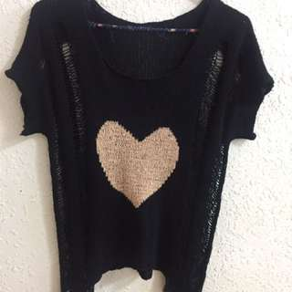 愛心針織造型上衣