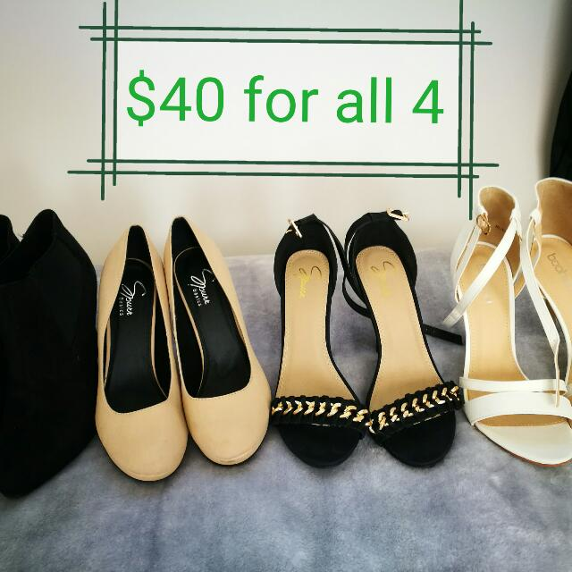4 Pairs Of Size 7 Heels
