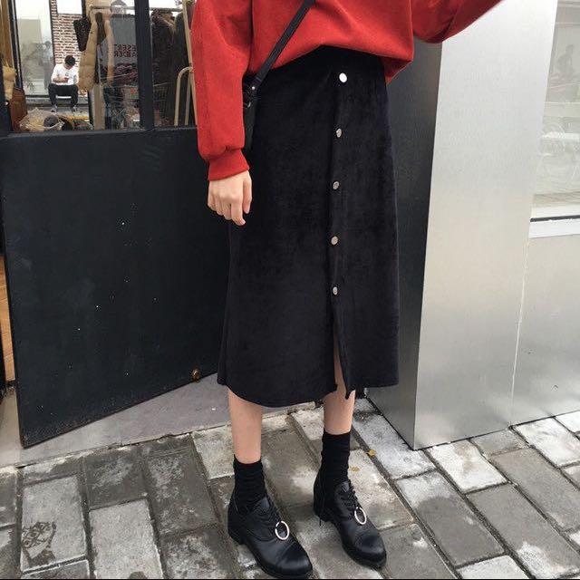 絲絨扣長裙