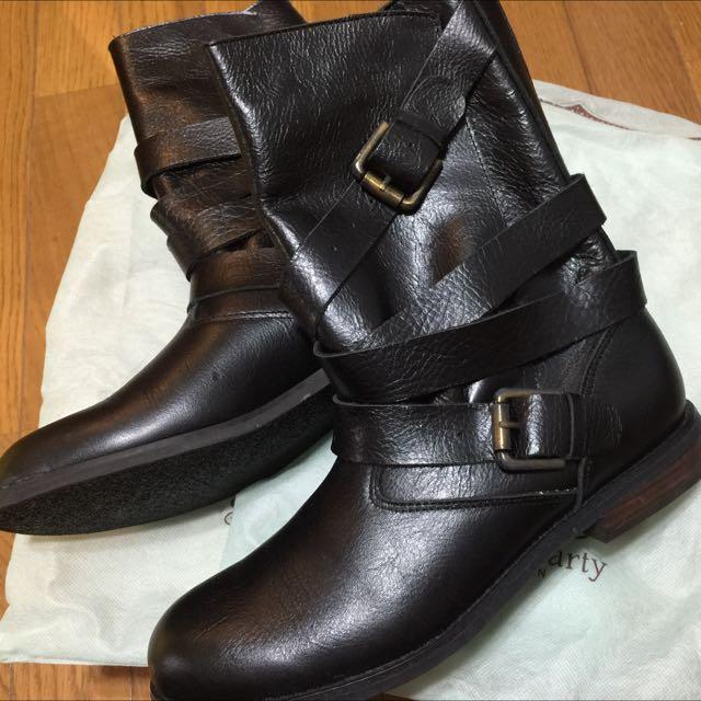真皮中筒工程靴