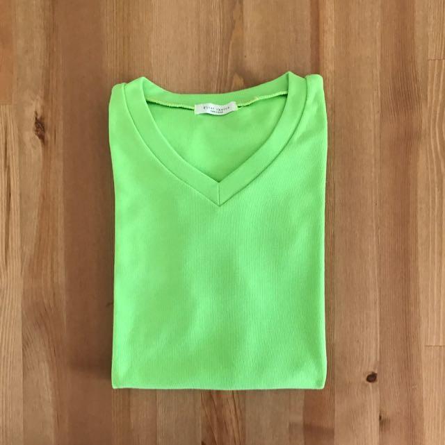 韓版 螢光綠素色T-shirt