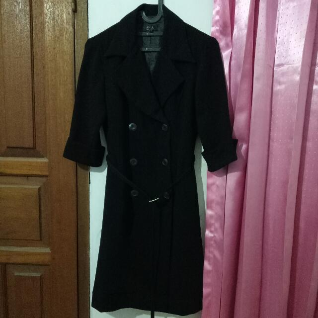 Afaf Black Coat Dress