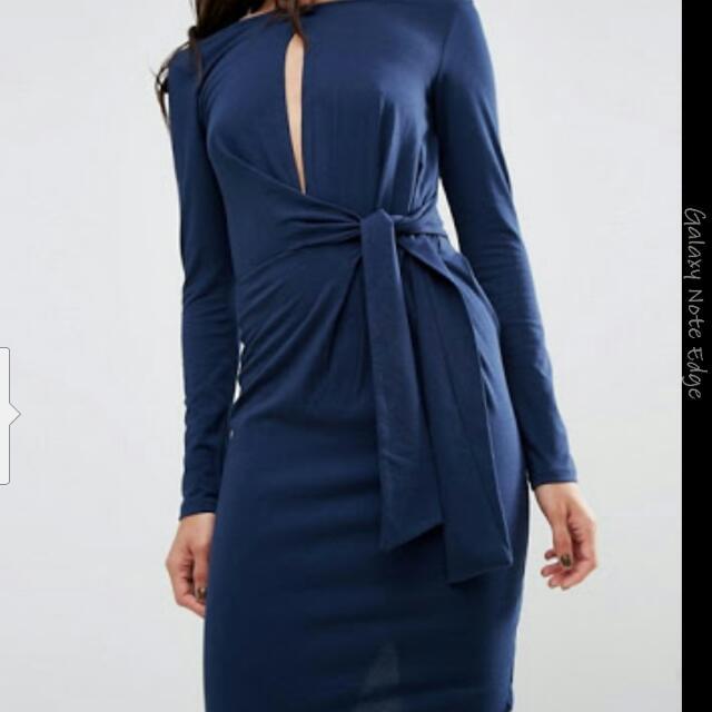 Asos Navy Tie Side Plunge Midi Dress Size 14