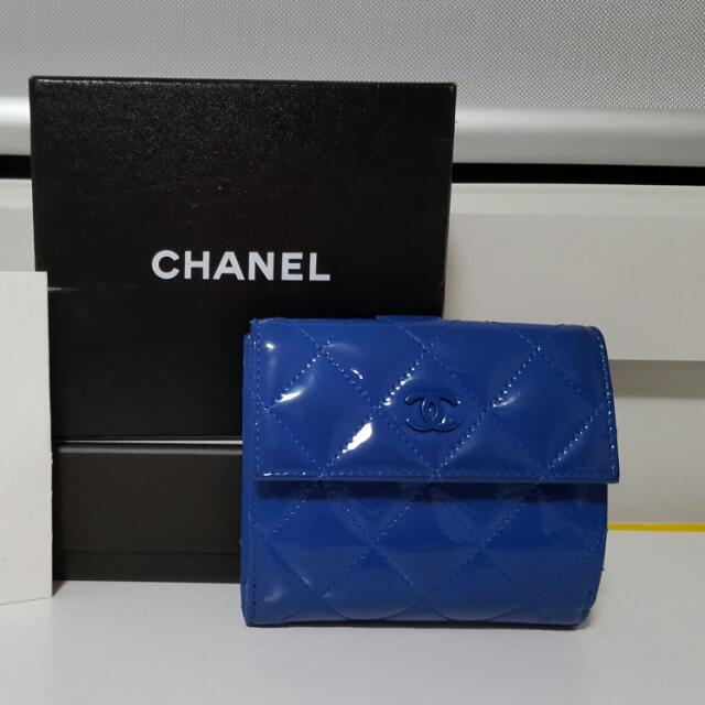 QUICK SALE Authentic Chanel Compact Wallet (Patent Leather in Cobalt Blue)
