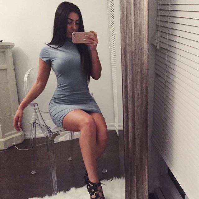Baby Blue Suede Bodycon Dress