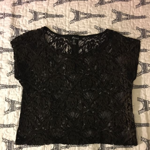 Black Lace Forever 21 Crop Top