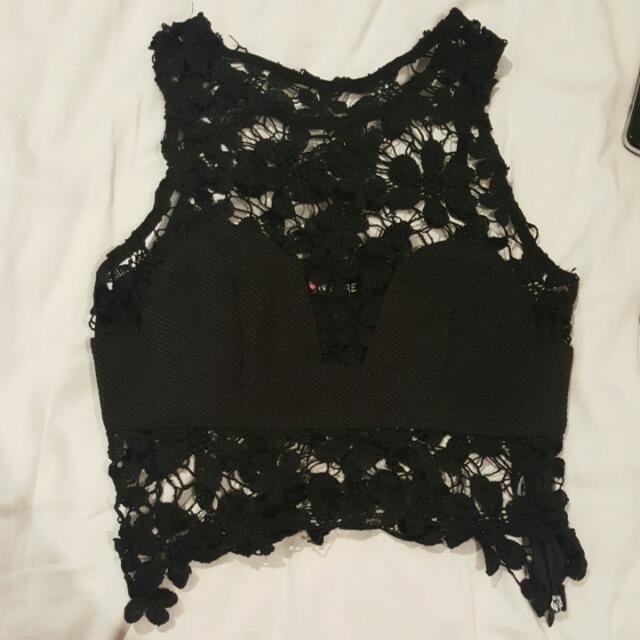 Black Lace Half Top