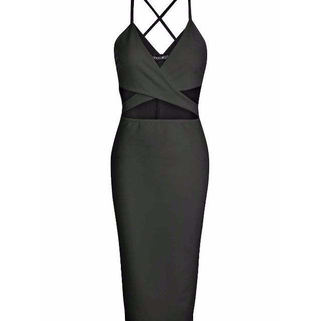 BLACK MIDI CROSS DRESS - size 12