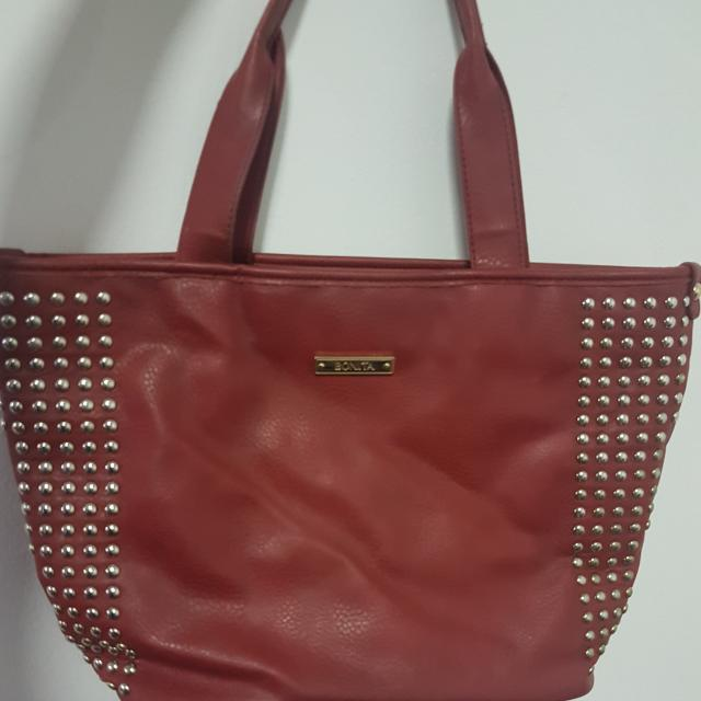 Bonita Shoulder Bag (Red With Studs)