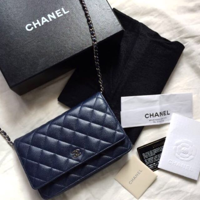 12c413a3afb1 CHANEL WOC Wallet On Chain Navy Blue Caviar Leather Bag, Luxury, Bags &  Wallets on Carousell