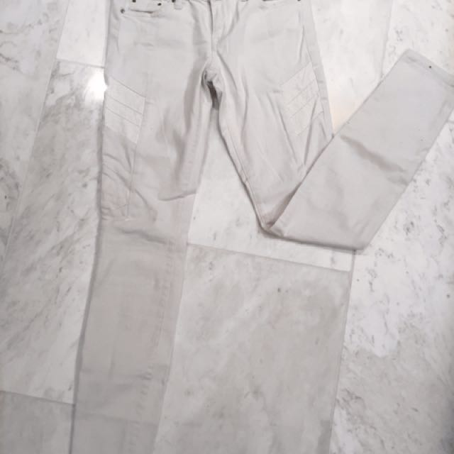 Club Monaco White Skinny Jeans With Leather Panels