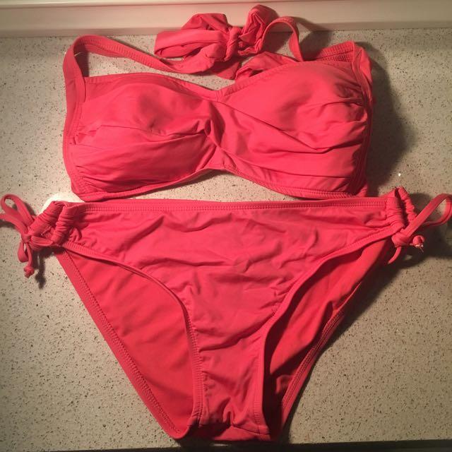 Coral Bandeau Bikini Set