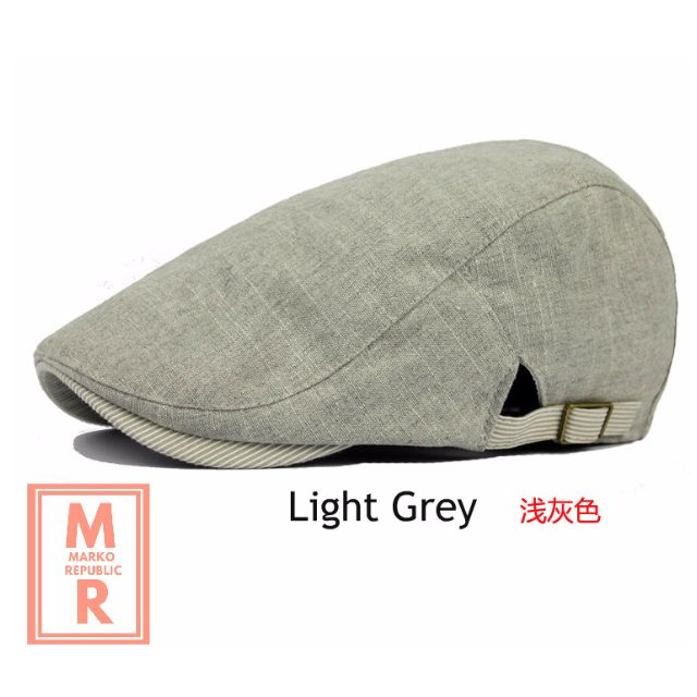 Cotton Beret Hat with adjustable strap  Light Grey  8d3f4e632fa