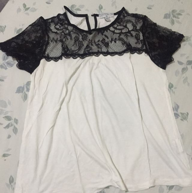 Cotton On White Top With Black Detail