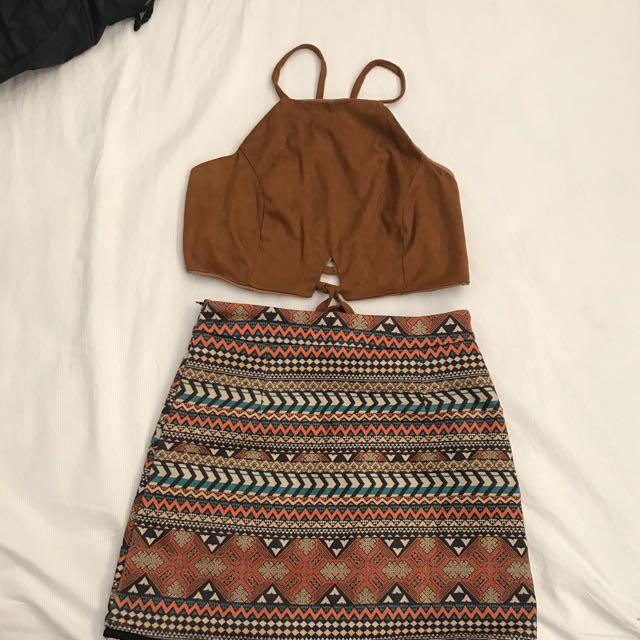Crop Top And High Waist Skirt