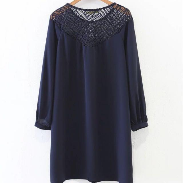 Dark Blue Openwork Dress