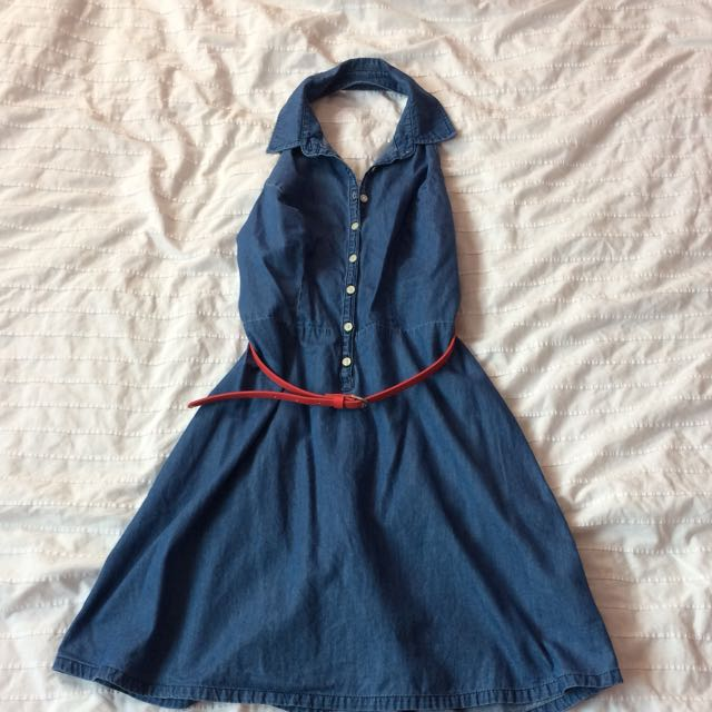 Denim Halter Neck Fit&Flare Dress