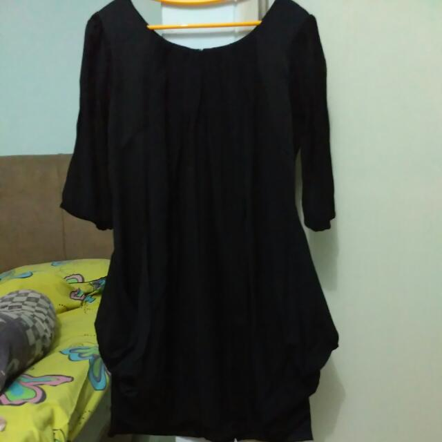 Dress Hitam 2bahan