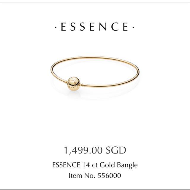 9c11e1005 Essence 14k Gold Pandora Bangle, Luxury, Accessories on Carousell