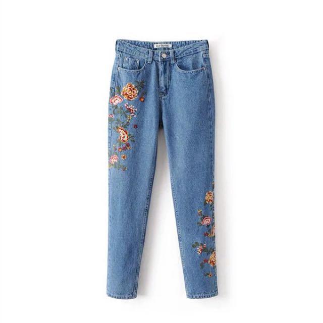 Flower Embroidered Denim Pants