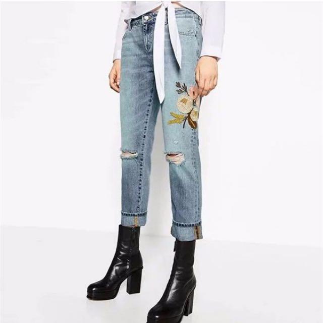 Flower Ripped Jeans Denim