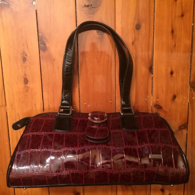 Futura Handbag Patent Red Burgundy Not Leather Pleather Vegan RRP $169