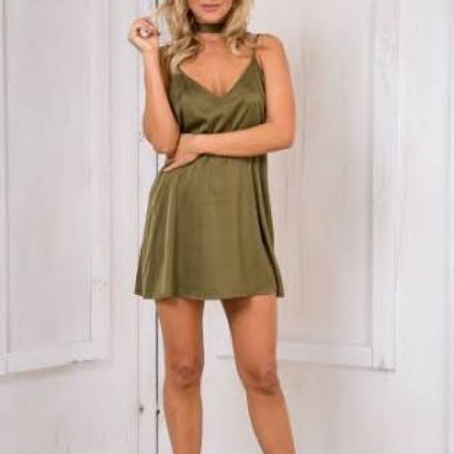 Green Khaki Slip Dress Hire