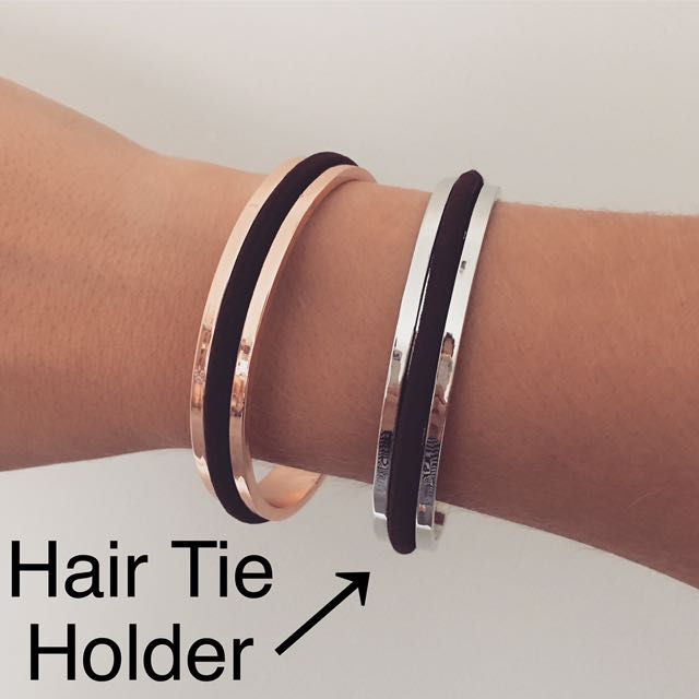 Hair Tie Holder Bangle Silver Or Rose Gold