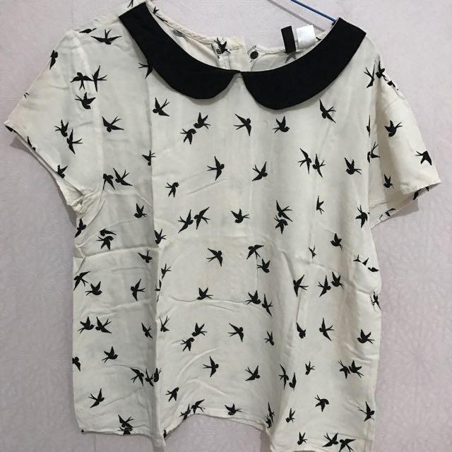 H&M Black Bird Shirt