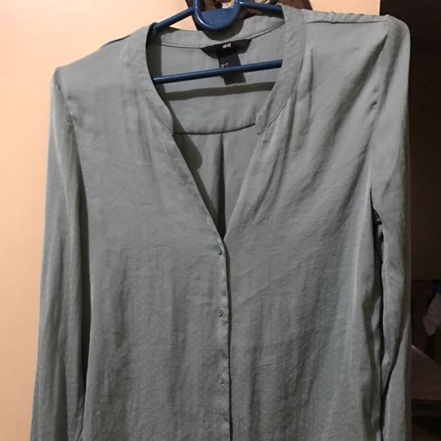H&M Long sleeve Green Blouse