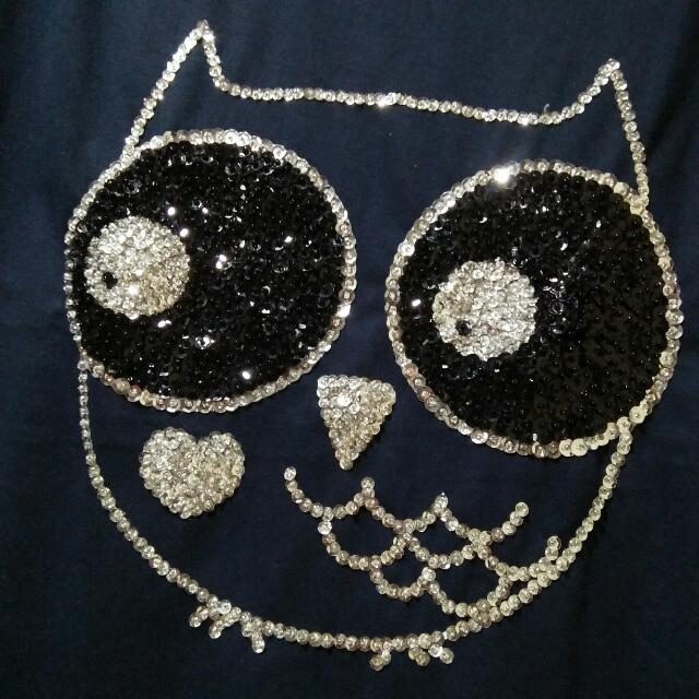 Imported Sequinned Navy Blue Owl Blouse