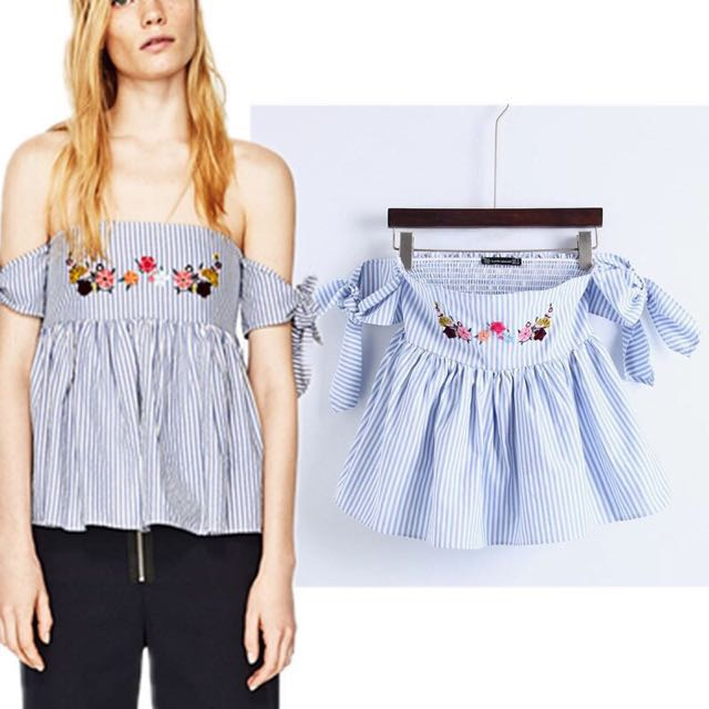 d427a2cd090 Inspired Zara Stripe Off The Shoulder Embroidered TOP on Carousell