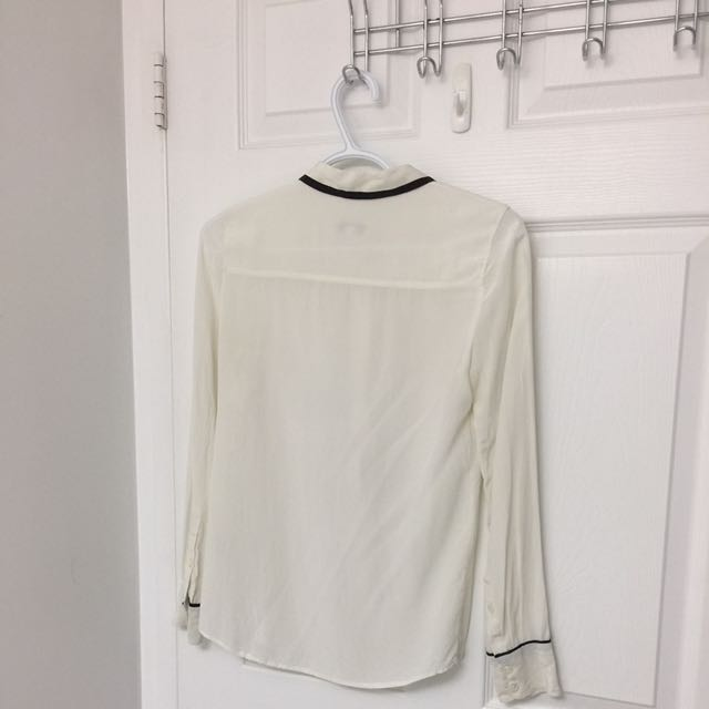 J Crew White Blouse With Black Detail (size 0) **reduced price
