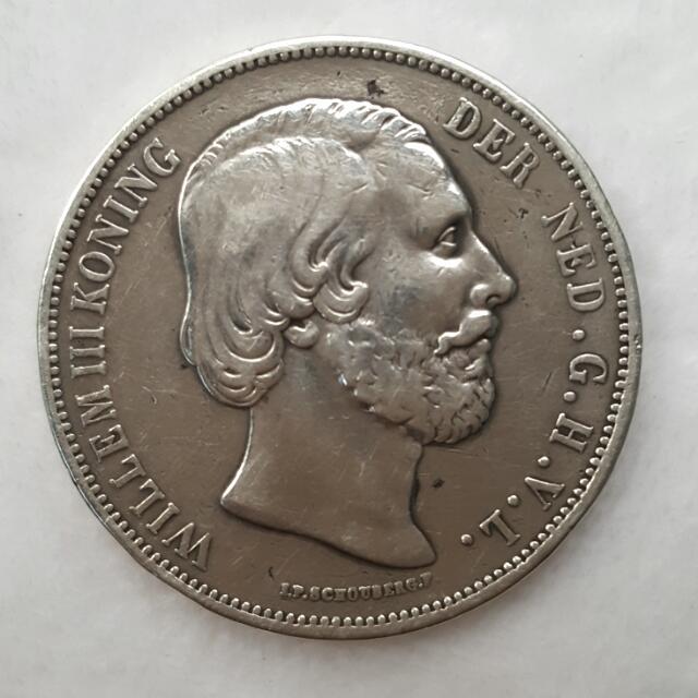 Koin Perak Belanda 2 1/2 Golden  tahun 1868