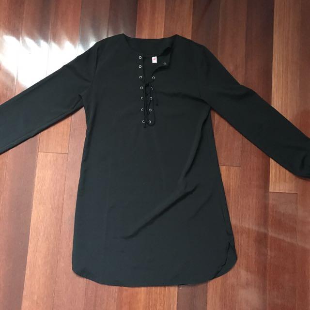 Lace Up Black Tunic Dress