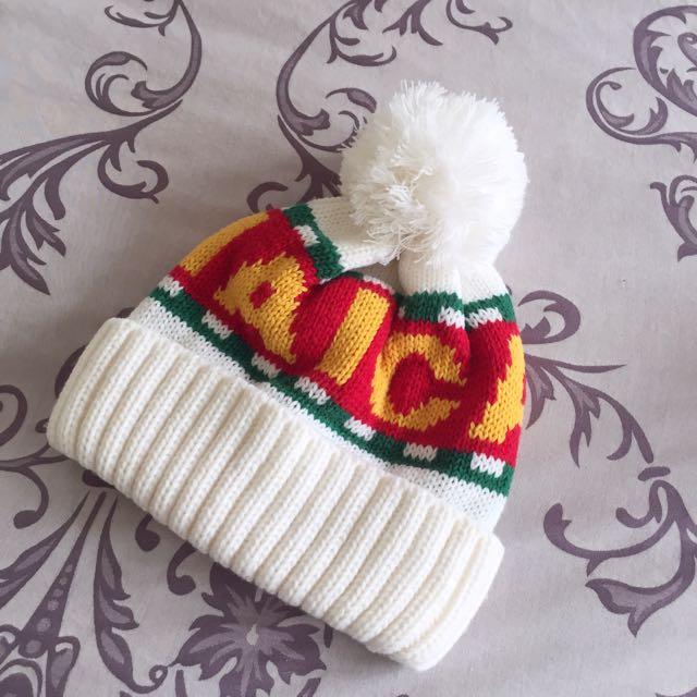 Major Made(MJR) 正韓大毛球聖誕色英文毛線帽