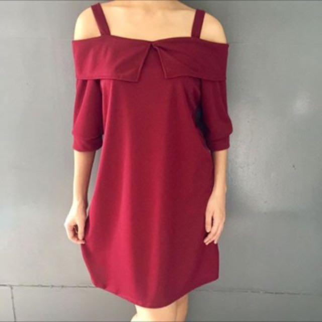 Maroon Peep Shoulder Dress