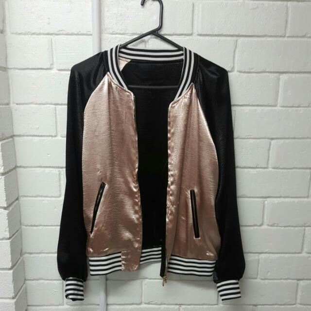 Metallic Silk Bomber Jacket