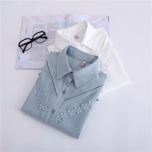 Muses韓版質感❤燈芯絨鏤空花朵造型襯衫(二色)S-2XL