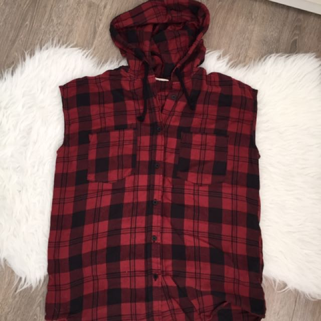 Noisy May Sleeveless Red Plaid Flannel Shirt