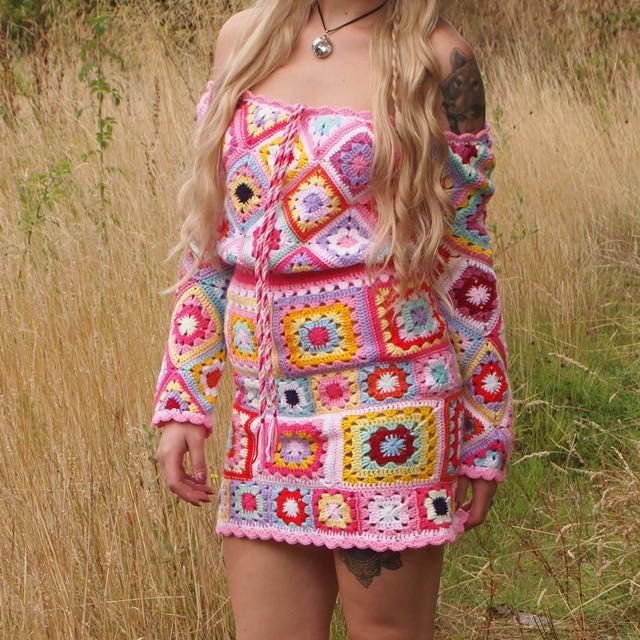 One Of A Kind Festival Crochet Bardot Off Shoulder Knitted Dress