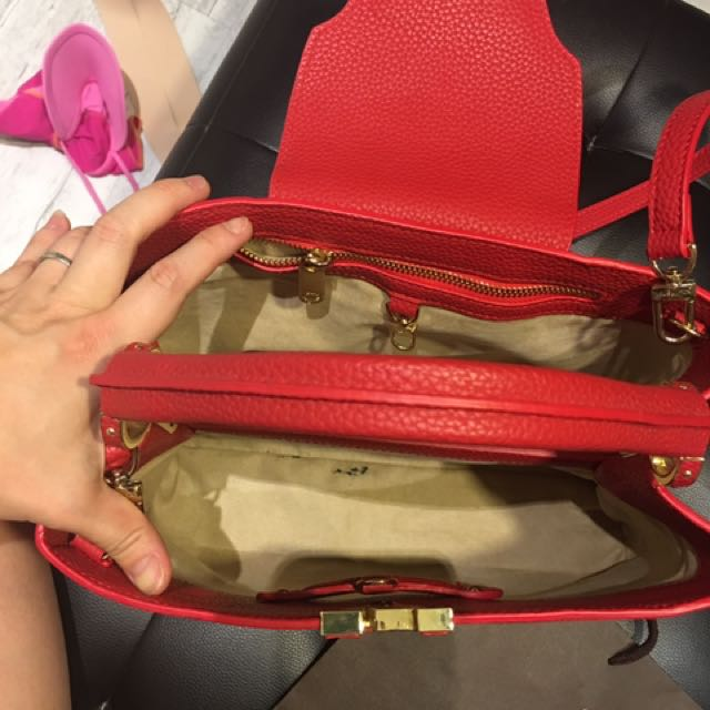 Red LV Capucines Bag