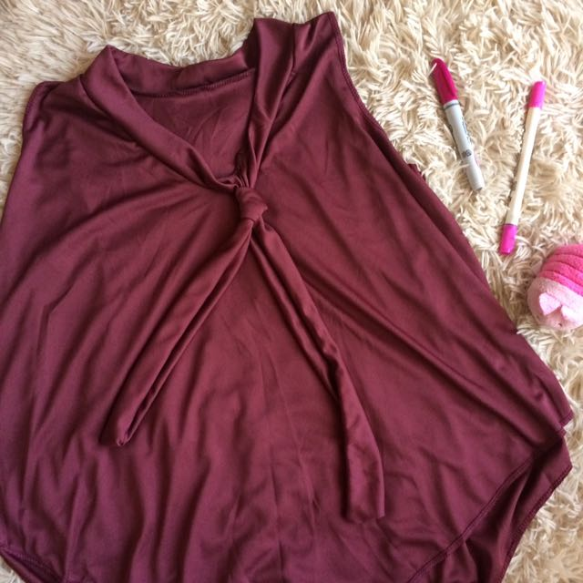 Ruby Red Silk Blouse Top