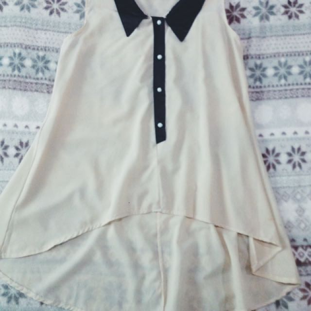 See Trough Cream Blouse
