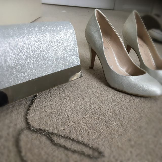 Silver Glittered Heels And Matching Clutch