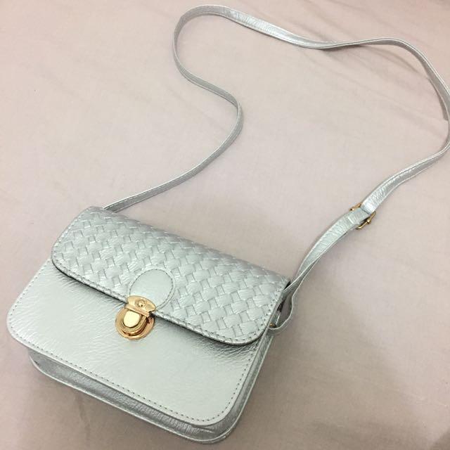 Silver Mini Sling Bag