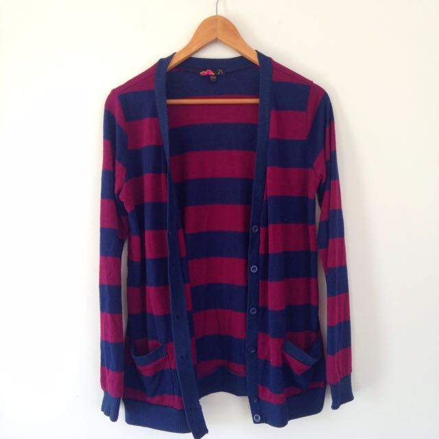 SIZE 6/8 Maroon And Navy Cardigan